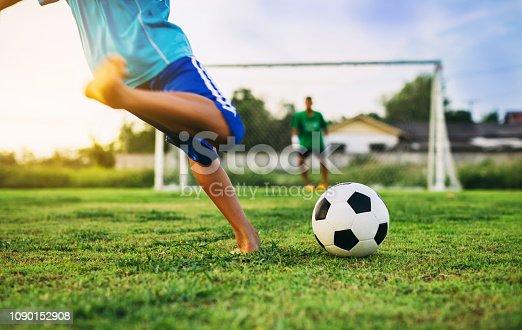 Soccer football exercise in children.