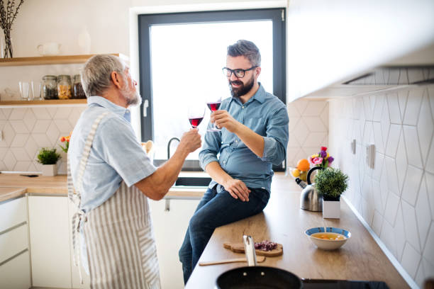 An adult hipster son and senior father indoors in kitchen at home, drinking wine. stock photo