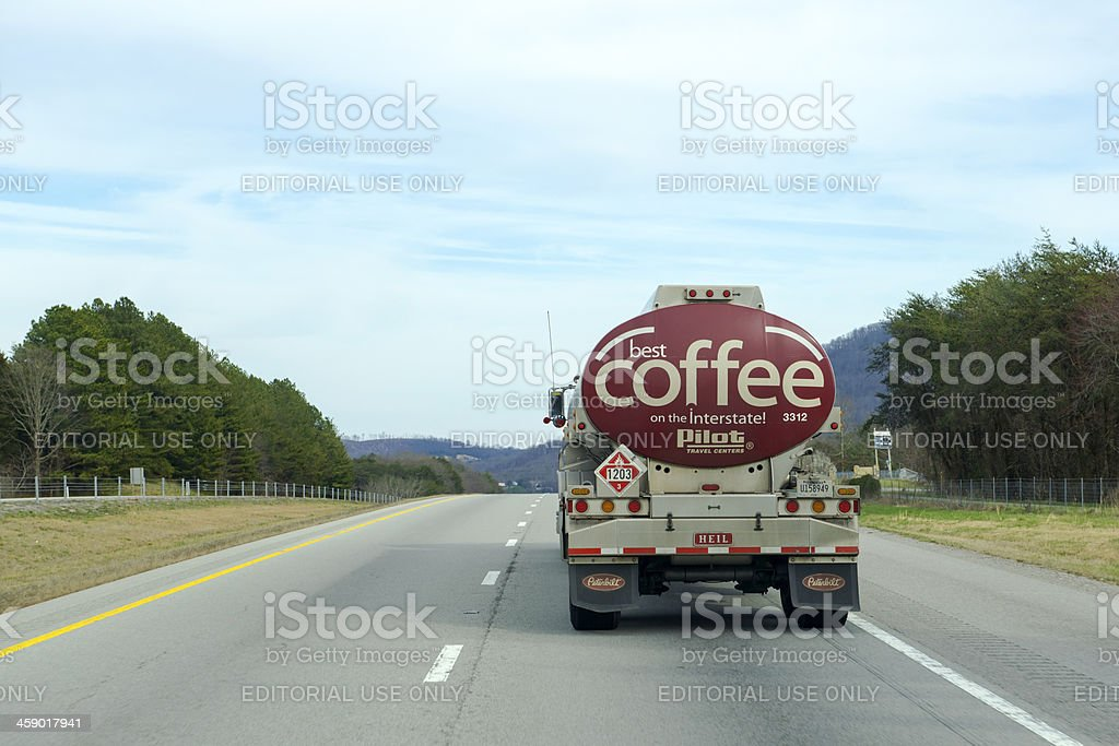 Coffee ad and Fuel Tanker royalty-free stock photo