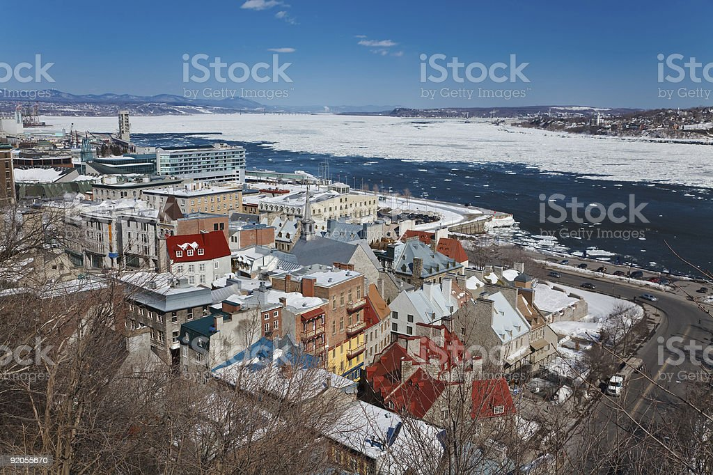 An aerial display of Quebec City royalty-free stock photo