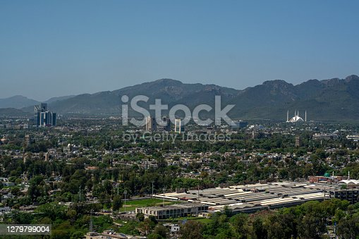 an aerial cityscapes and landscape photos of monuments in Islamabad , capital of Pakistan