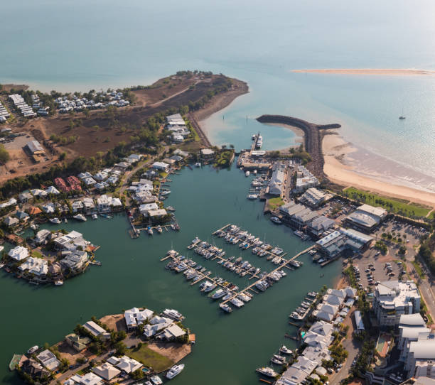 an aerial photo of cullen bay, darwin, northern territory, australia. - darwin stock photos and pictures