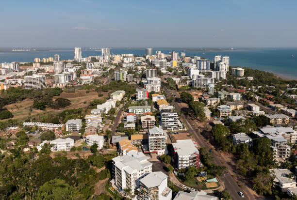 an aerial photo of darwin, the capital city of the northern territory of australia. - darwin stock photos and pictures