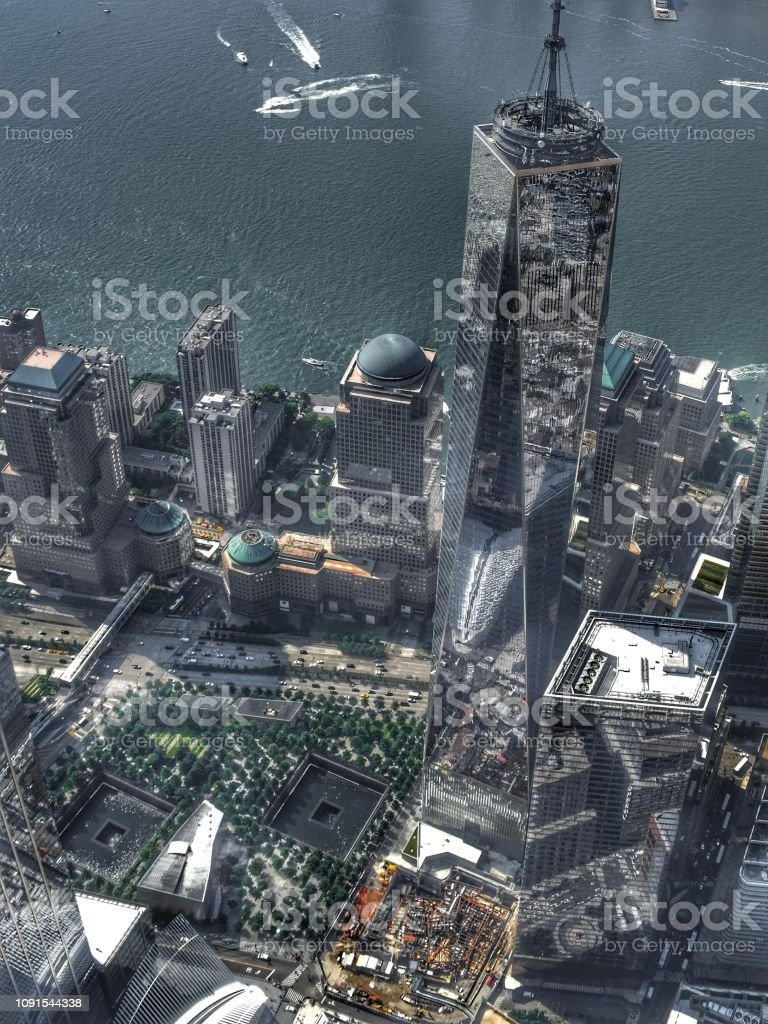 An Aerial Shot of One World Trade Center in the Financial District, Manhattan, New York City stock photo