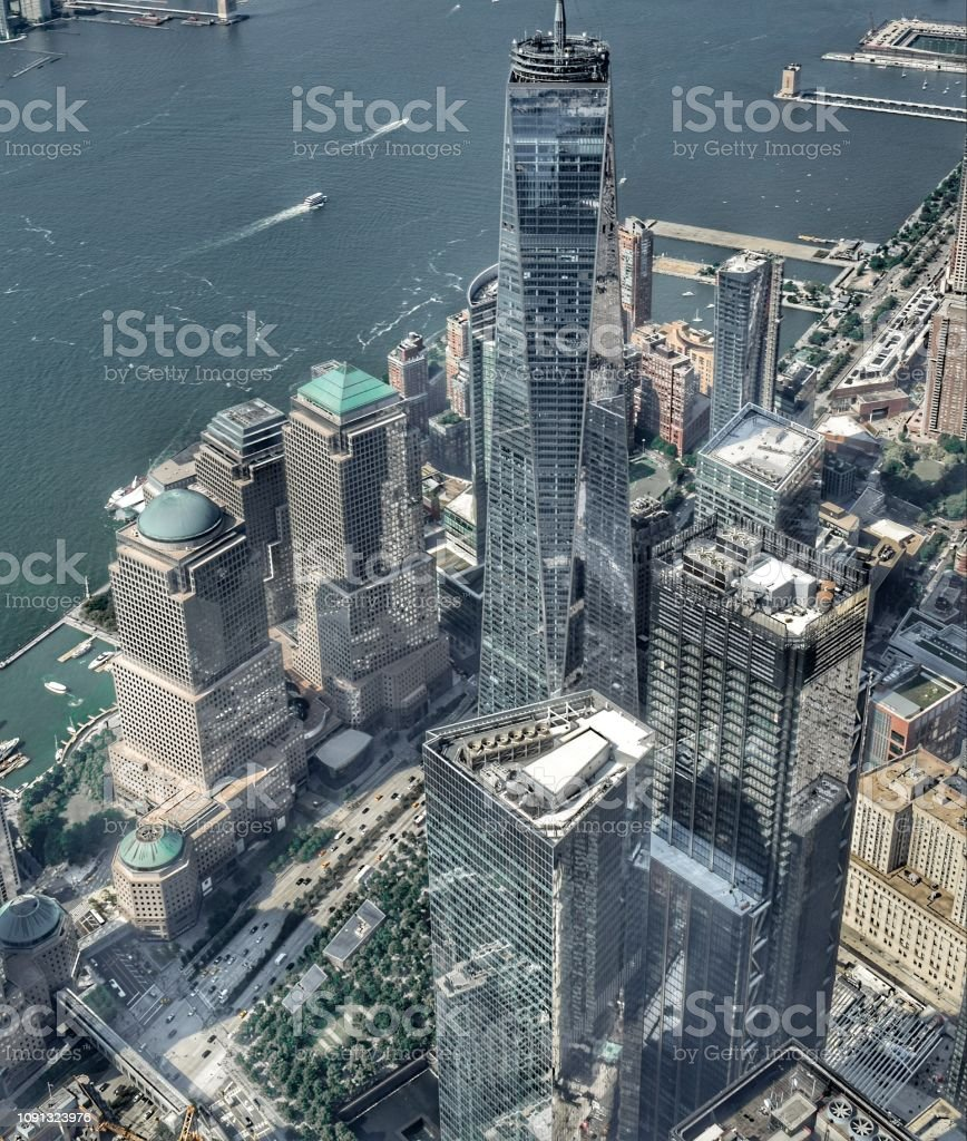 An aerial shot of the Freedom Tower in the Financial District, Manhattan, New York City. stock photo