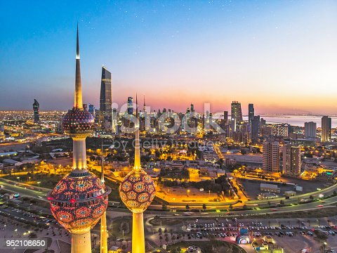 istock An aerial shot of the Kuwait Towers during sunset with the view of the skyscrapers at the background. 952108650