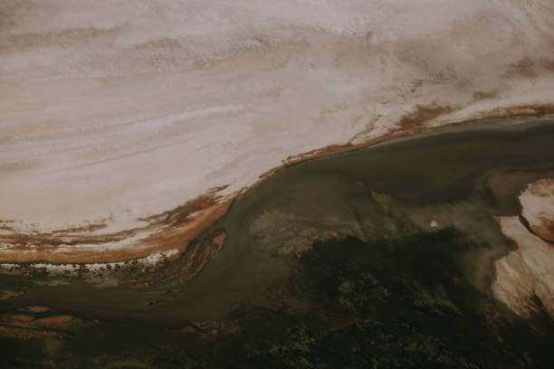 An Aerial Still Photograph of Desert and Green Fields in Utah stock photo
