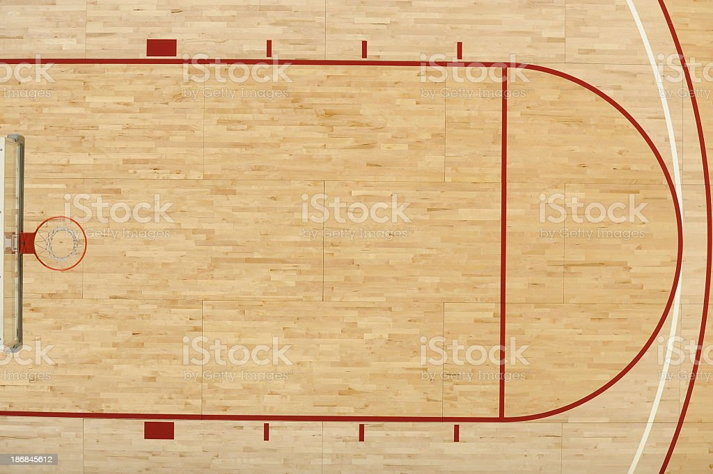 An aerial view above half of one end of a basketball court  stock photo