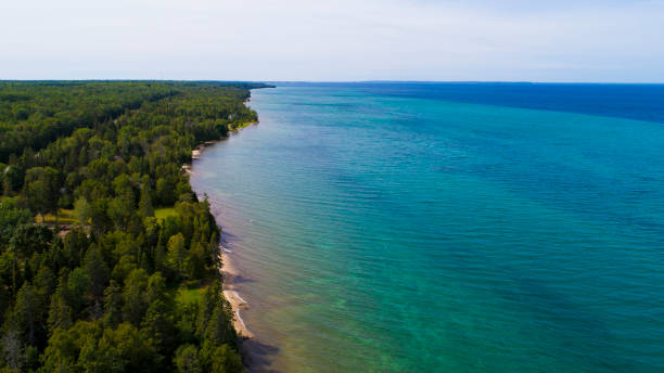 An aerial view along the coast of Lake Huron in the Straights of Mackinac stock photo
