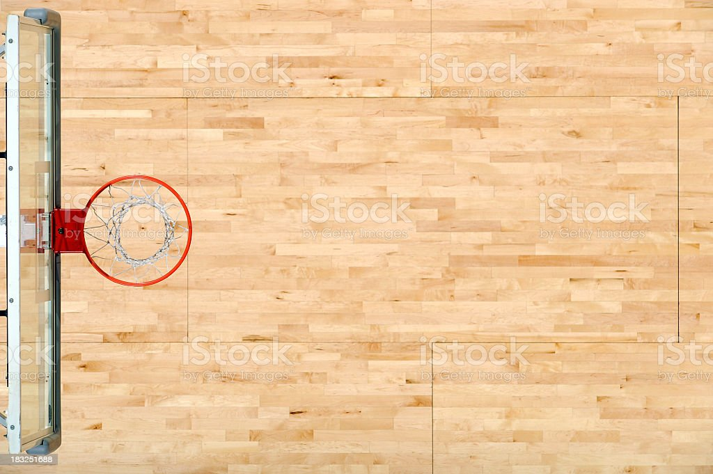 An aerial view of a basket rim and the floor stock photo