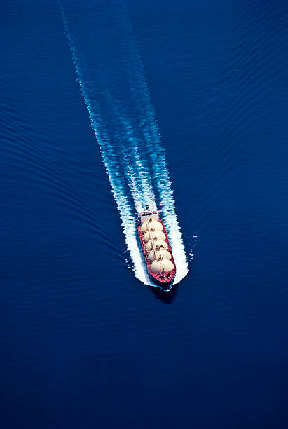 An aerial view of a boat on water for the oil industry stock photo