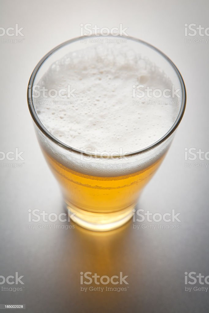 An aerial view of a glass of beer royalty-free stock photo