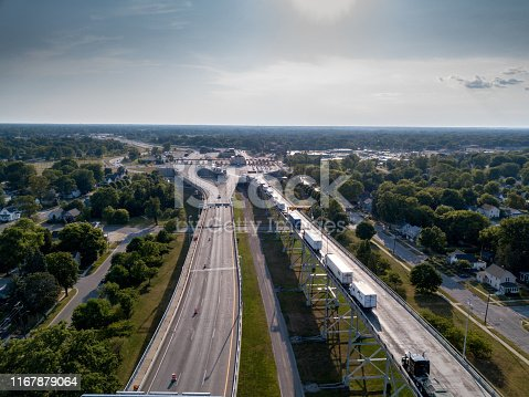 An aerial view of Canada and the United States of semis waiting to cross at The International Border Crossing