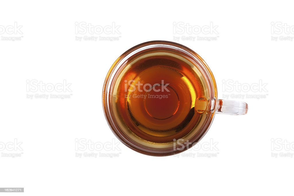 An aerial view of a mug of black tea on a white background stock photo