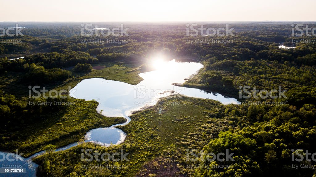 An aerial view of a small lake in Michigan royalty-free stock photo
