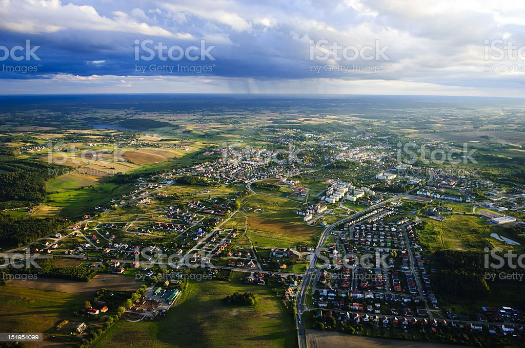 An aerial view of a small town stock photo