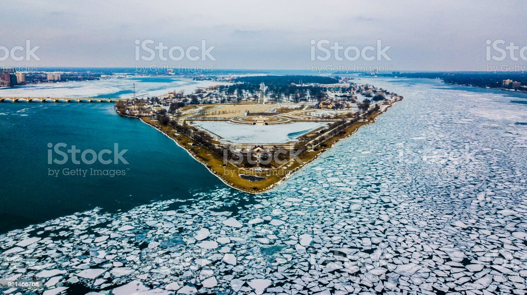 An aerial view of Belle Isle surrounded by ice flows, Detroit Michigan stock photo