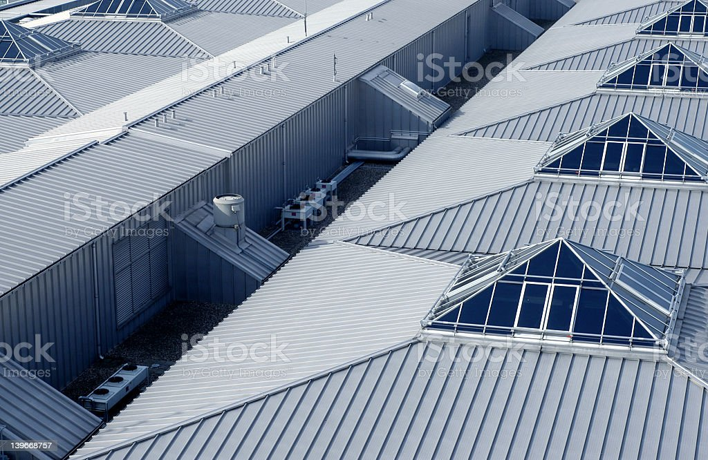 An aerial view of building rooftops stock photo