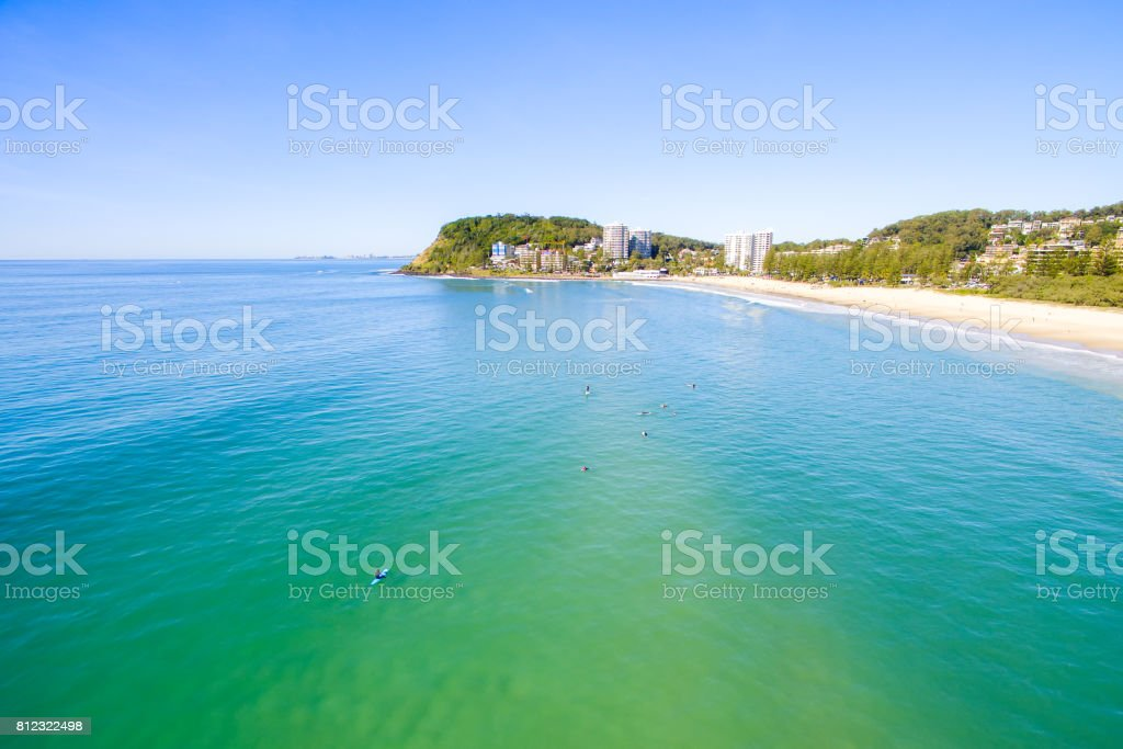 An aerial view of Burleigh Heads on a clear idyllic day on the Gold Coast, Australia stock photo