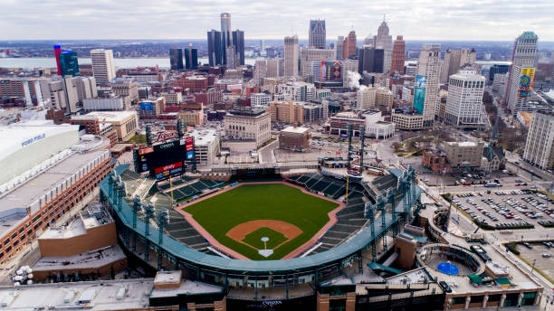 An aerial view of Comerica Park in Detroit, MI stock photo