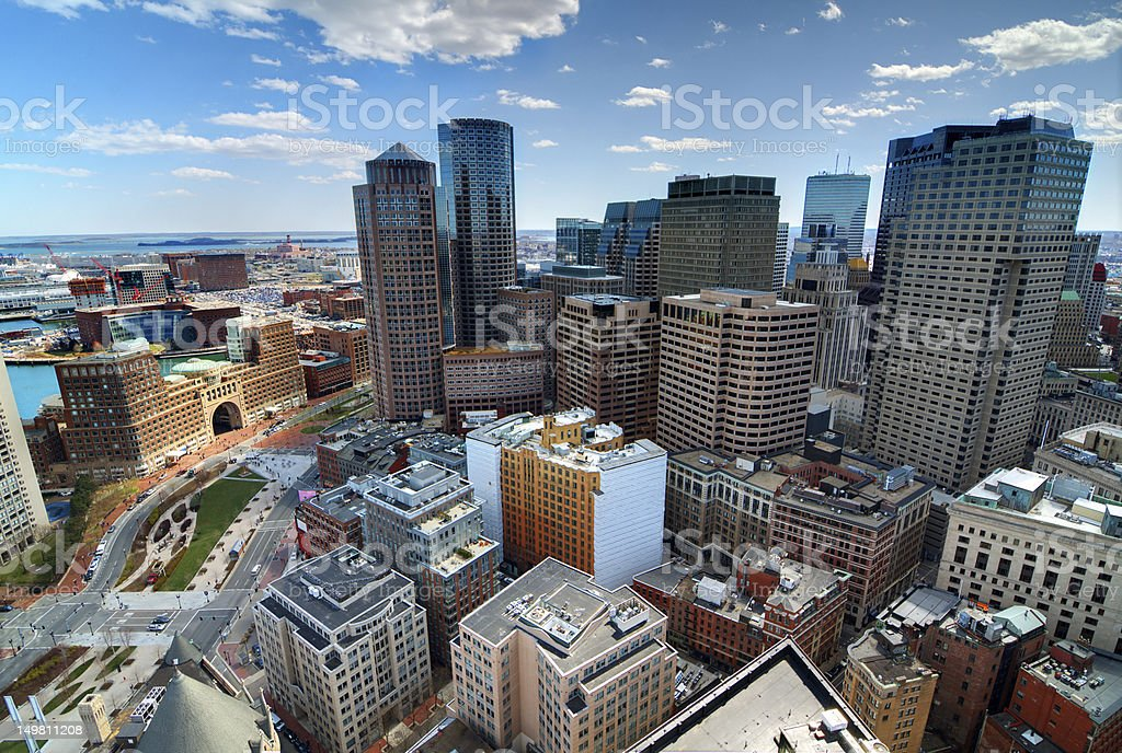 An aerial view of Downtown Boston stock photo