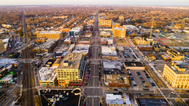An aerial view of downtown Royal Oak, Michigan stock photo
