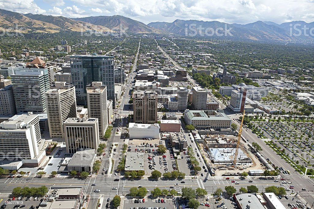 an aerial view of downtown salt lake city utah stock photo