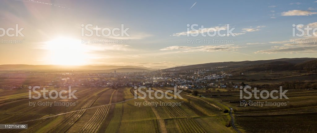 An aerial view of Eisenstadt and the Leithagebirge, Burgenland, Austria stock photo