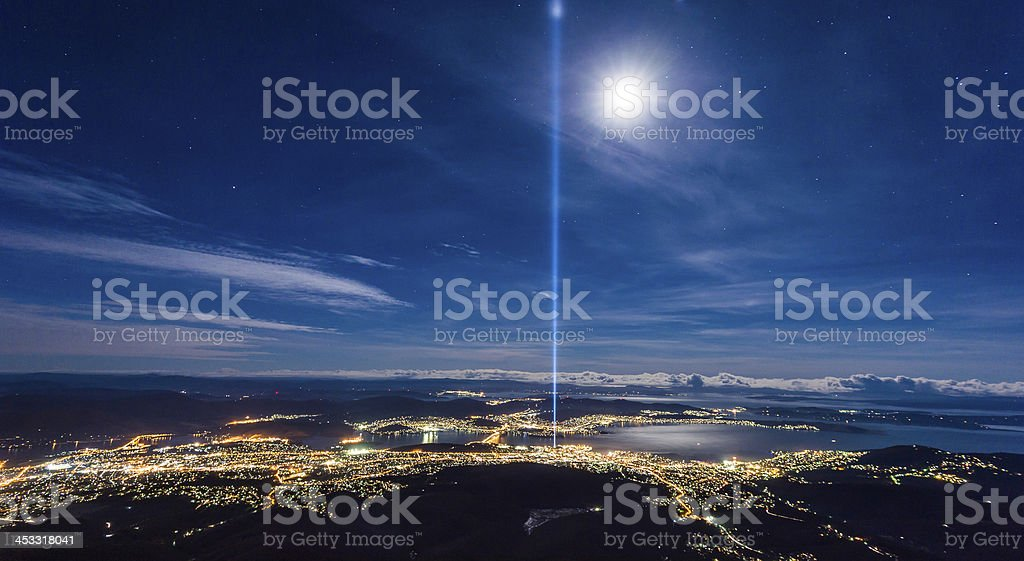 An aerial view of Hobart at night stock photo