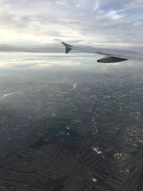 An aerial view of London. stock photo
