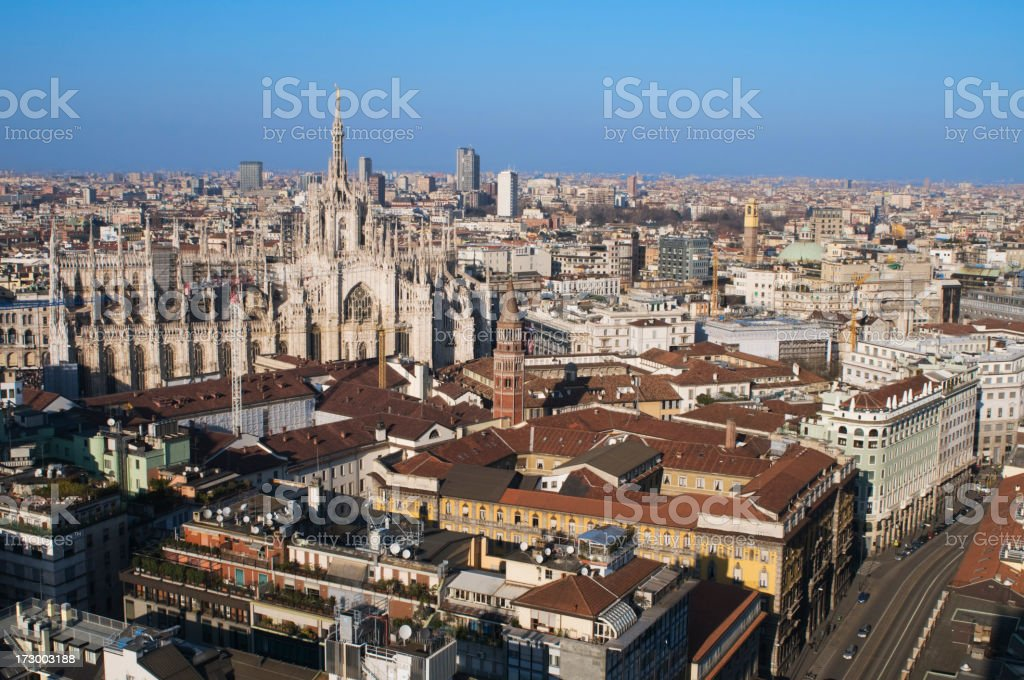 An aerial view of Milan in Italy royalty-free stock photo