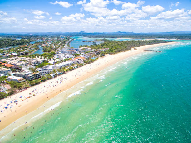 An aerial view of Noosa Heads Noosa on the Sunshine Coast in Queensland from an aerial perspecive rocky coastline stock pictures, royalty-free photos & images