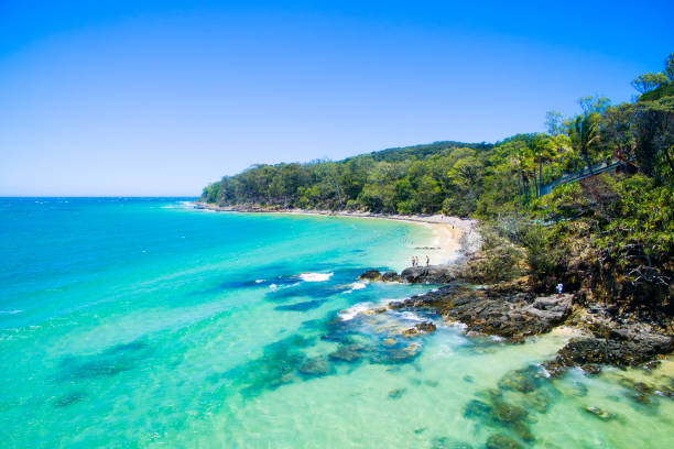an aerial view of noosa on a clear day with blue water - queensland foto e immagini stock