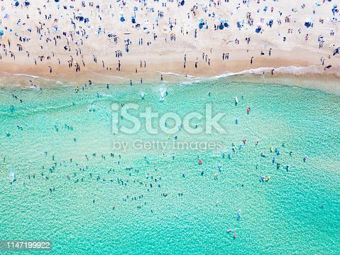 An aerial view looking down at Bondi Beach in Sydney on a busy day with blue water