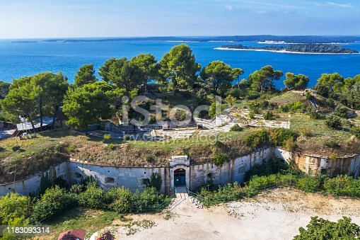 An aerial view of Fort Punta Christo near Stinjan, Istria, Croatia, against Brijuni islands