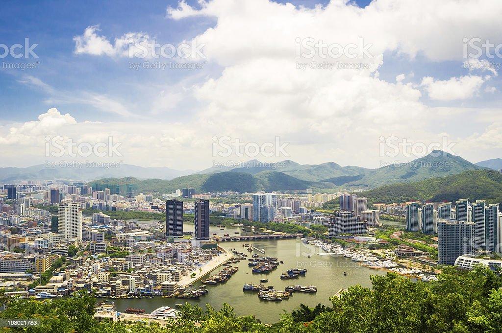 An aerial view of Sanya city, Hainan Province, China  stock photo