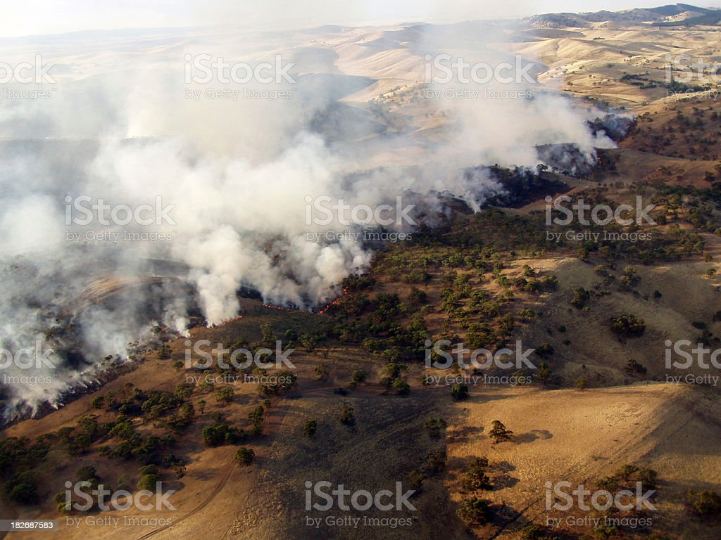 An aerial view of smoke from a bush fire stock photo
