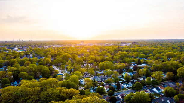An aerial view of sunset over the suburbs of Southeast Michigan stock photo