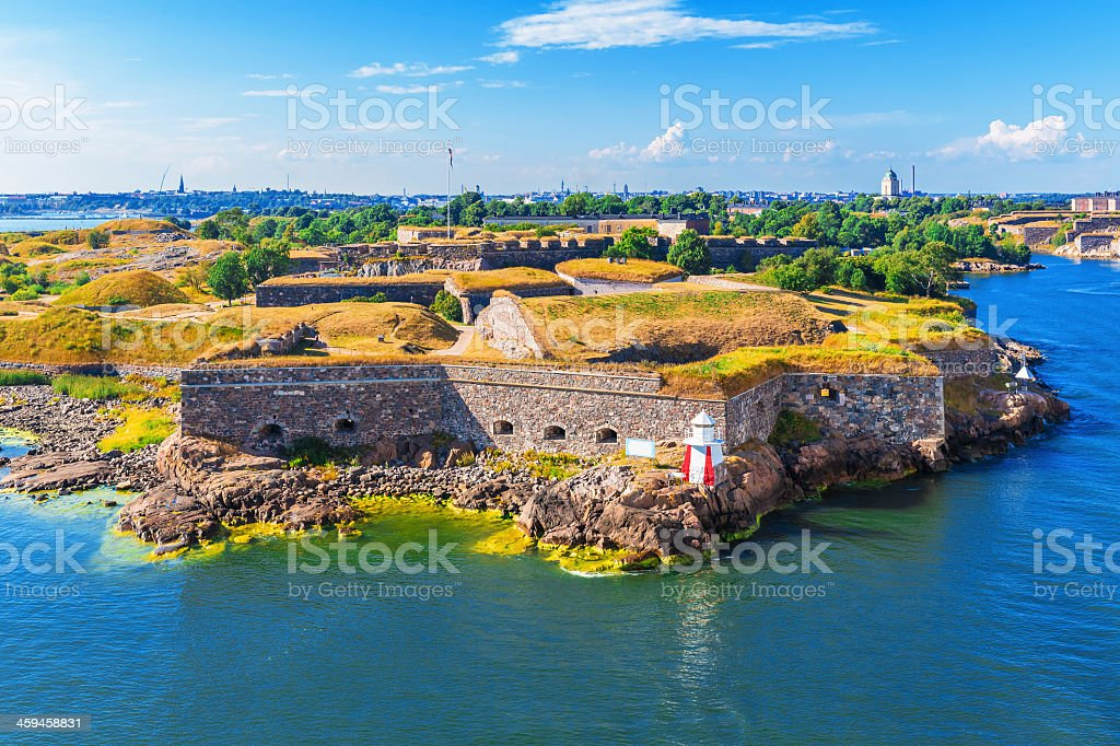 An aerial view of Suomenlinna Fortress in Helsinki, Finland stock photo