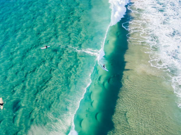 An aerial view of surfers waiting on the surfboard for a wave at the beach stock photo
