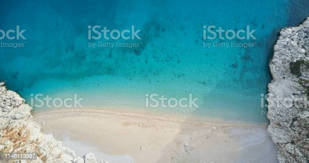 Photo of An aerial view of the beach in summer
