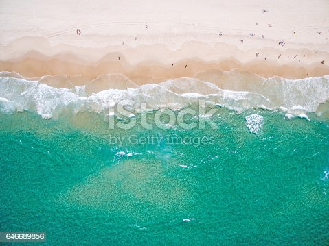 The beach from above, a unique perspective from the air looking down over the ocean