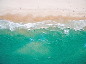An aerial view of the beach in summer