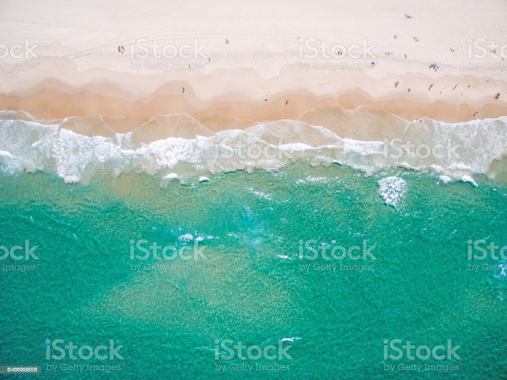 An aerial view of the beach in summer - foto stock