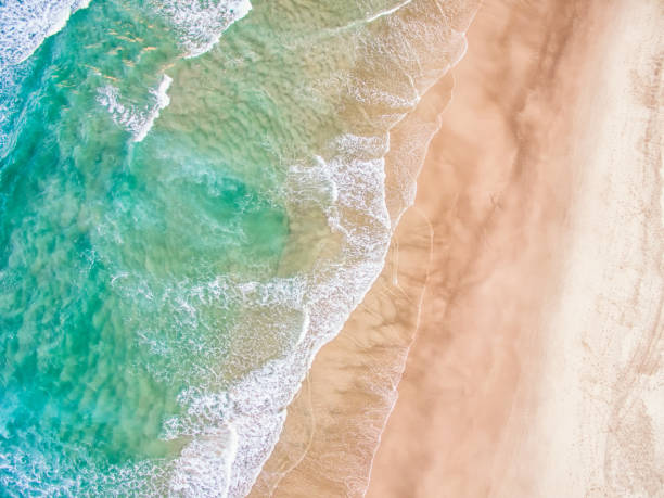 An aerial view of the beach in summer stock photo