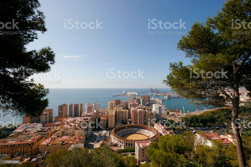 An aerial view of the city Malaga royalty-free stock photo