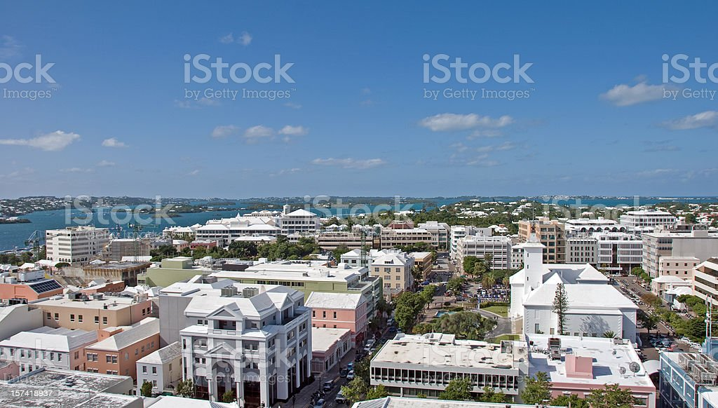 An aerial view of the city of Hamilton stock photo