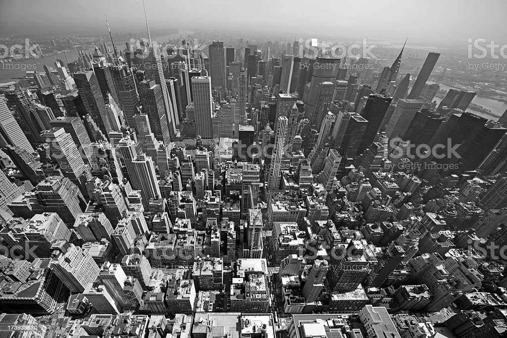 An aerial view of the city of Manhattan in black and white royalty-free stock photo