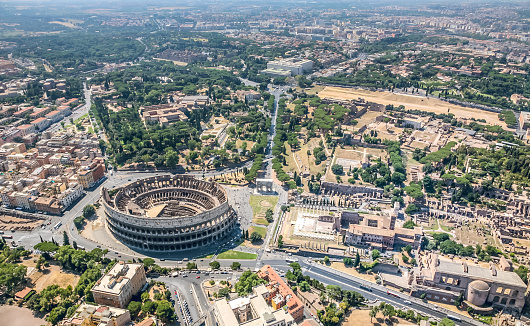 An aerial view of the Coliseum and the Palatine Hill in the Roman Forum