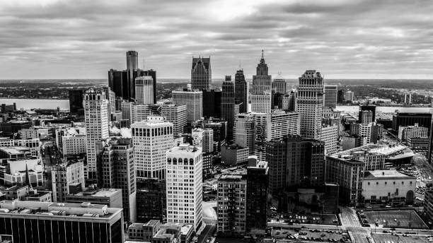 An aerial view of the Detroit City Skyline stock photo